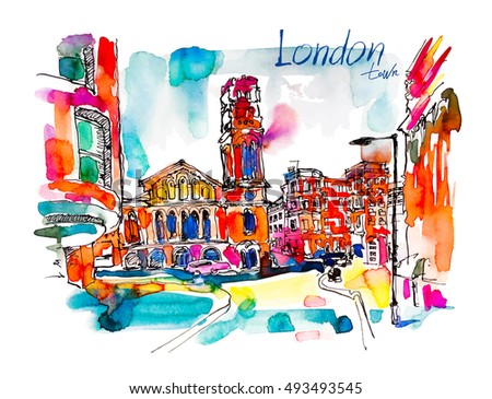 sketch watercolor painting of London street with church and hand lettering inscription, bright hand drawn colorful travel vector illustration
