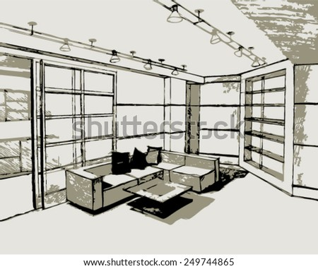 Sketch with drawing room interior. Vector illustration. - stock vector