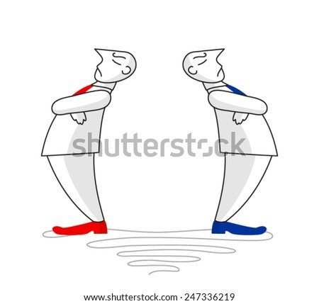 Sketch with two figures of disaffected men, turned away from each other - stock vector