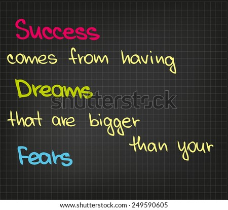 Sketch words of success dreams and fears - stock vector