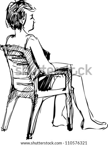 sketch youth sits in an arm-chair barefoot
