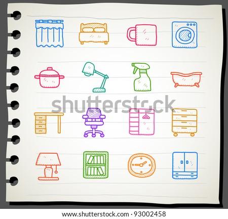 Sketchbook series | Furniture icon set - stock vector