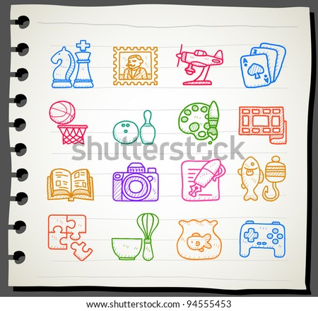 Sketchbook series | Hobby, Leisure and Holiday Icons - stock vector