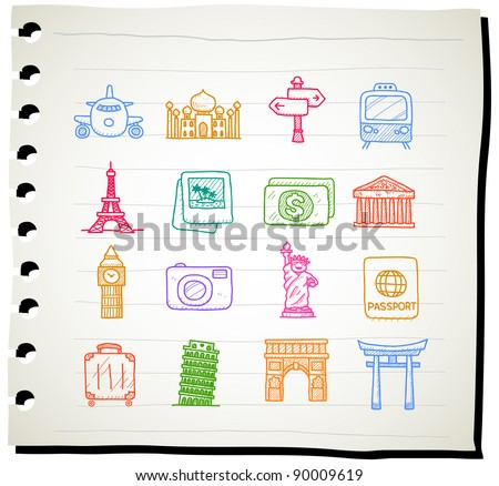 Sketchbook series | travel,landmark,vacation icon set - stock vector