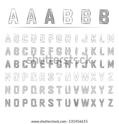 sketched alphabet - stock vector