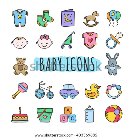 Sketched baby icons vector set. Hand drawn kids symbols: toys, food, clothes - stock vector