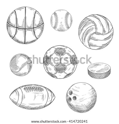 Sketched balls for soccer or football, baseball, basketball, american football, volleyball, tennis, bowling and puck for ice hockey. Sporting items isolated icons - stock vector