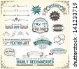 Sketched Banners, Awards And Frame/ Illustration of a set of sketched doodles hand drawn design vintage banners, labels, seal stamper, ribbons and awards - stock