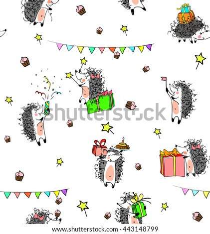 sketched birthday vintage seamless pattern with cute cartoon hedgehogs holding cakes and presents.  Hand drawn Vector illustration - stock vector
