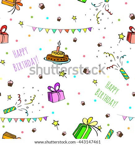 sketched birthday vintage seamless patterns with cute cartoon cakes and presents.  Hand drawn Vector illustration - stock vector