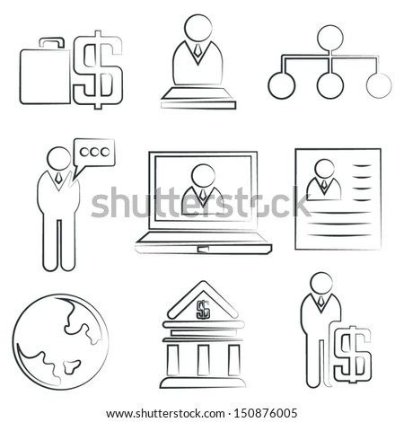 sketched business and company icons - stock vector