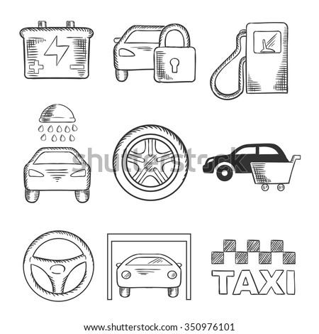Sketched car service icons of a fuel pump, security, battery, car wash, tyre, purchase, steering wheel, garage and taxi. Transportation industry design usage, sketch style - stock vector
