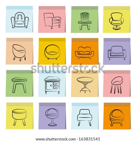sketched chair icons set, note paper, memo notes - stock vector