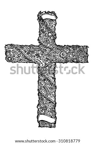 Sketched cross in flower style with ribbons for text. Vector illustration.