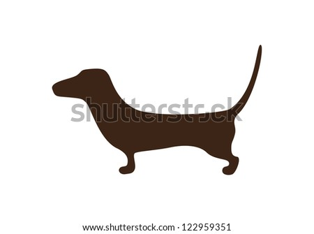 Sketched dachshund brown silhouette isolated on white background - stock vector