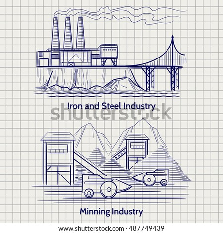 Sketched factory industrial landscape. Metallurgical and mining production vector