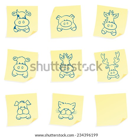 Sketched farm animals on sticky post its. - stock vector