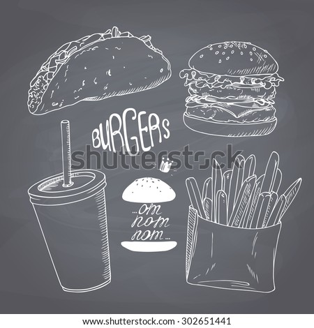 Sketched fast food set with burger, french fries, taco and paper cup of milk shake. Design for cafe, restaurants, diner menu. Chalk style vector illustration. Chalkboard background