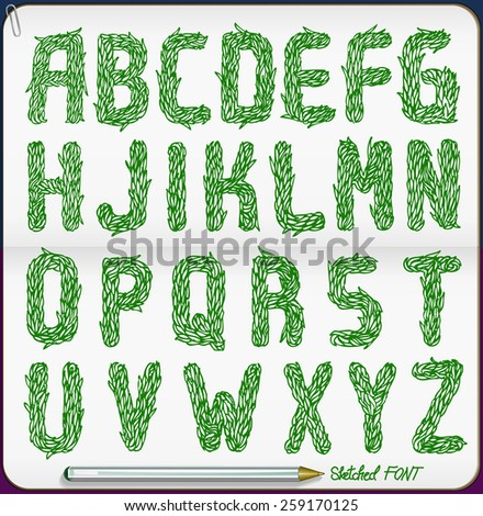Sketched grass font, Part 2/2 Numbers and symbols, vector - stock vector