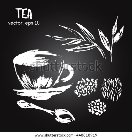 Sketched illustration of  herbal tea white on blackboard. Hand drawn brush food ingredient. Vector bio and eco icon, logo design template. Concept for healthy food. - stock vector