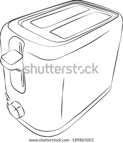 Sketched line drawing of a modern two slice toaster. Vector Version. - stock vector