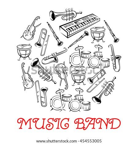 Sketched sound instruments. Synthesizer and violin with bow or fiddlestick, trap set or drum kit, saxophone and trumpet.  Woodwind, string, brass, percussion used in jazz, rock, pop, disco. - stock vector