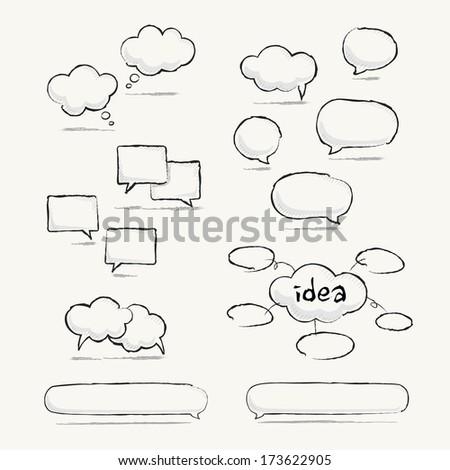 Sketched speech bubble set - stock vector