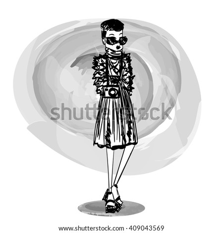 Sketched Vector Stylish Girl Illustration with a Fashion Model Wearing Brand New Clothes and Accessories for the Fashion Week, Site, Book or Magazine Illustration, Black an White Illustration - stock vector