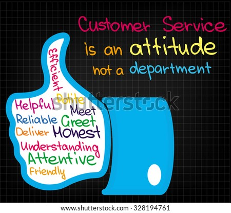 Sketched words and expression about customer service - stock vector