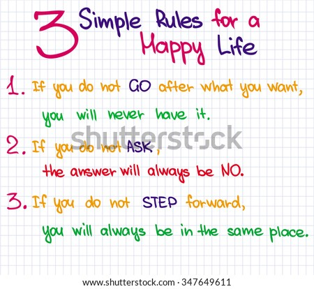 Sketched words and expressions for getting happiness in life - stock vector