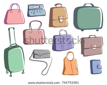 Sketches of bags and suitcases. Stylized drawing