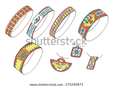 sketches of bracelets and pendants - stock vector