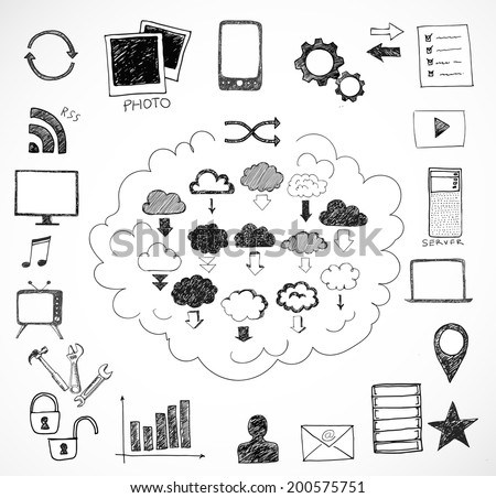 Sketches of cloud computing elements. Vector illustration. - stock vector
