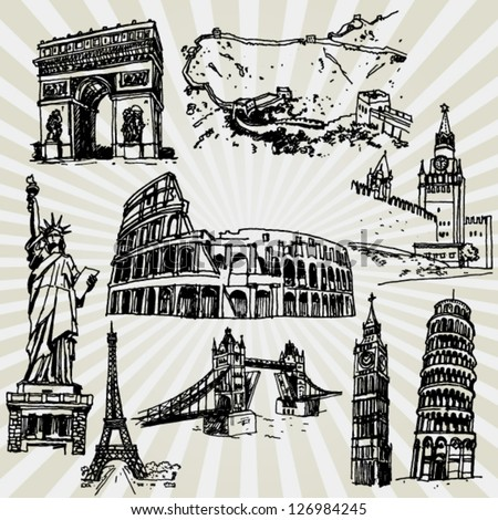 Sketches of Famous Places - stock vector