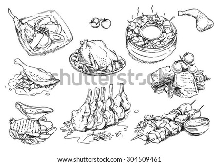 Sketches of food: meat