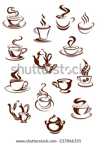 Sketches of hot and fragrant cups of coffee and pots with swirls of steam for beverage, cafe and restaurant design - stock vector