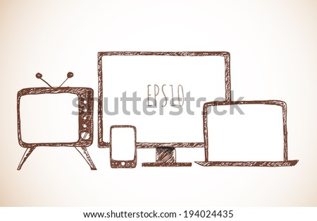 Sketches of mobile phone, old TV set, computer monitor, and notebook. Hand-drawn with ink in vintage style. Vector illustration.  - stock vector