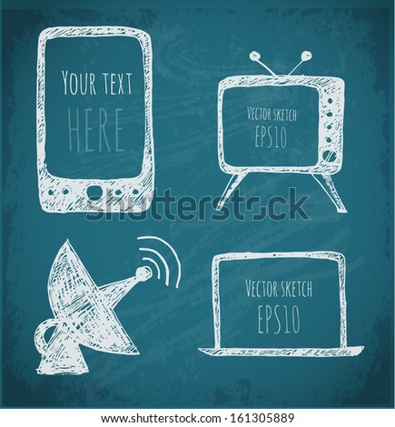 Sketches of mobile phone, TV set, antenna and notebook. Hand-drawn with ink. Vector illustration. - stock vector