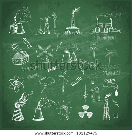 Sketches of oil rigs, oil platforms, thermal energy station and other sources of energy.  - stock vector