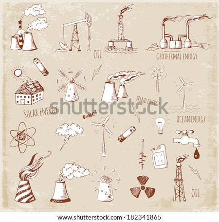 Sketches of oil rigs, oil platforms, thermal energy station and other sources of energy. Vector sketch illustration in vintage style.  - stock vector