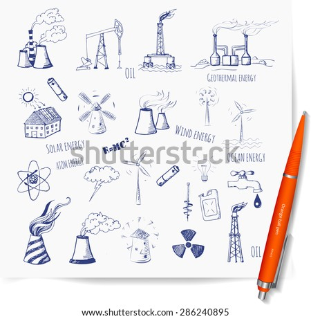 Sketches of oil rigs, oil platforms, thermal energy station and other sources of energy. Vector sketch illustration. - stock vector