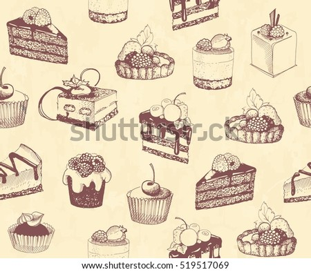 Sketches of scrumptious cupcakes and berry pie and chocolate tiered cake, decorated by butter cream, fresh strawberries and cherries, chocolate drops and wafer tubes