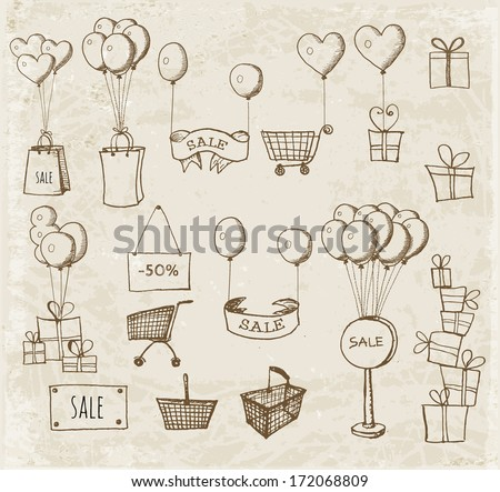 Sketches of shopping objects hand-drawn in vintage style. Vector illustration.  - stock vector