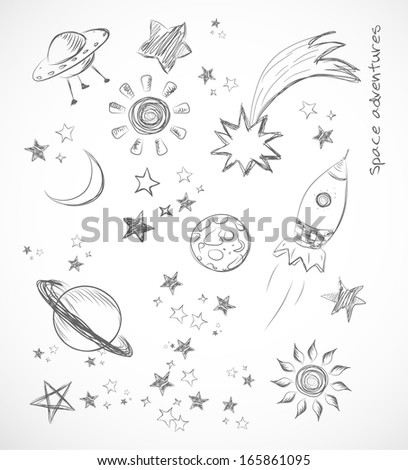 Sketches of space objects isolated on white.  Vector illustration