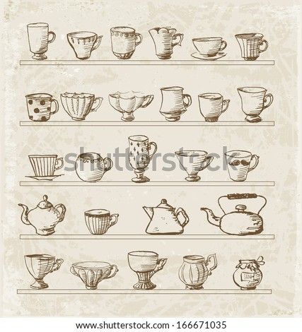 Sketches of vintage cups and tea pots. Vector illustration.  - stock vector