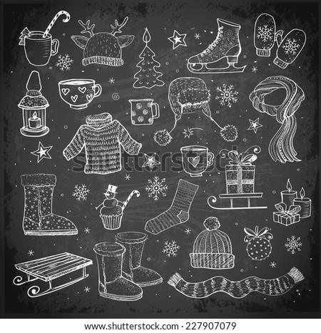 Sketches of winter elements on blackboard: boots, warm clothes, lantern, scarf, sleigh and others. - stock vector