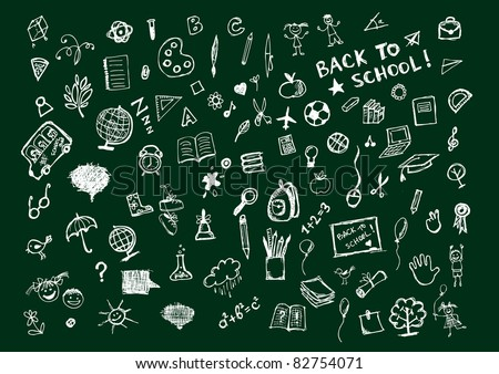 Sketches on blackboard, concept of school for your design - stock vector