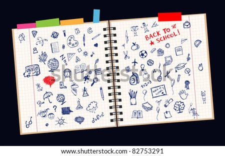 Sketches on page, concept of school for your design - stock vector