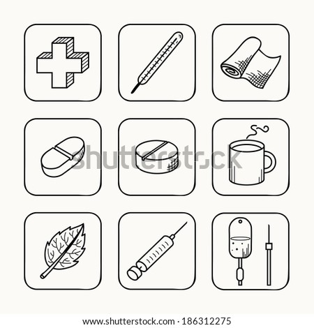 Sketches simple medical icons set. Vector illustration. - stock vector