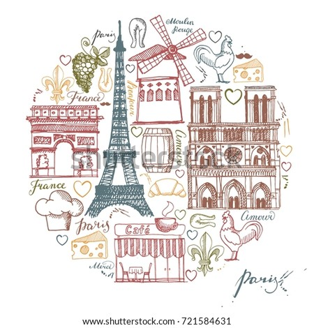 Sketches Traditional Symbols Of The French Architecture Culture Kitchen